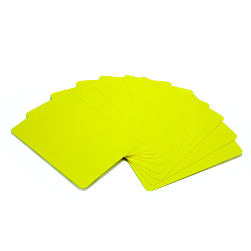 Set of 10 Yellow Plastic Poker Size Cut Cards
