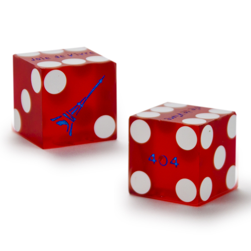 Pair (2) of 19mm Dice Used at the Paris Las Vagas Casino