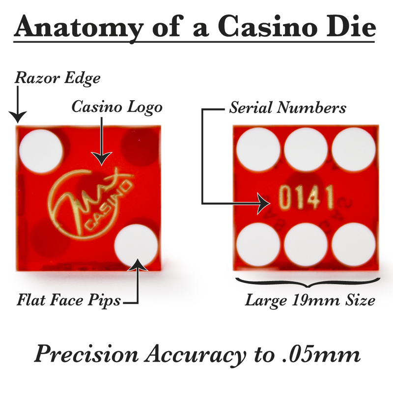 Pair (2) of Official 19mm Casino Dice Used at The Max Casino