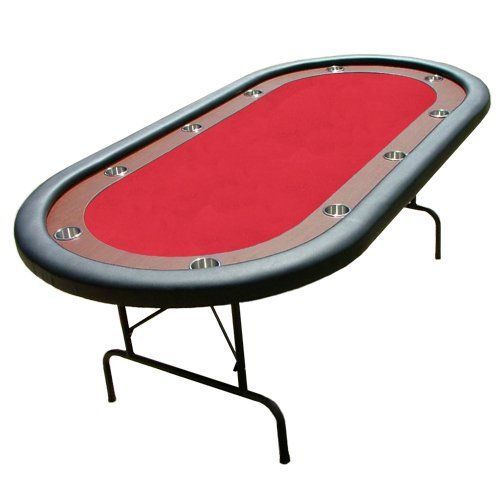 "Red Felt Poker Table With Dark Wooden Race Track 84""x42"""
