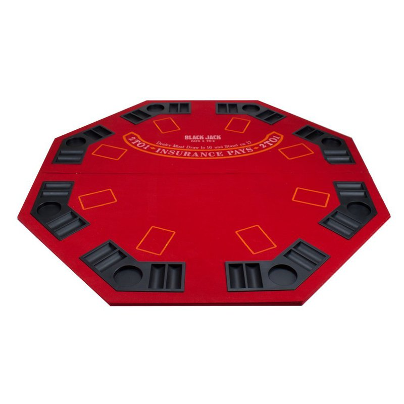 2 in 1 Red Folding Poker & Blackjack Table Top w/ Case