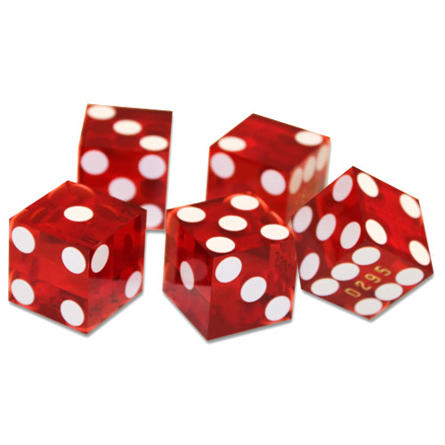 (5) New Red 19mm Grd A Precision Dice w/Matching Serial #s