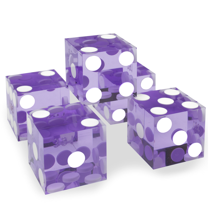(5) New Violet 19mm Precision Dice w/Matching Serial #s
