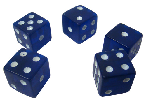 5 Blue Dice - 16 mm