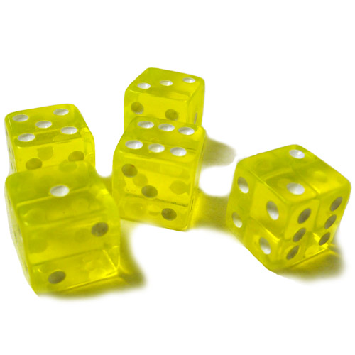 5 Yellow Dice - 16 mm
