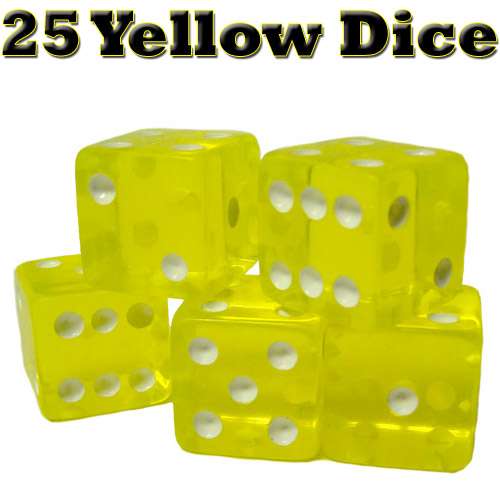 25 Yellow Dice - 16 mm