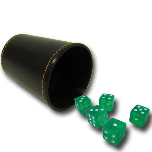 5 Green 16mm Dice with Synthetic Leather Cup