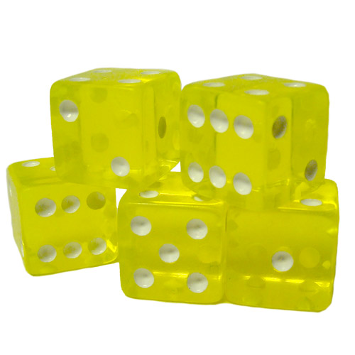 5 Yellow 16mm Dice with Plastic Cup