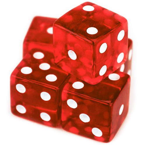 5 Red Dice - 19 mm