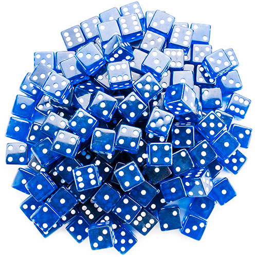 100 Blue Dice - 19 mm