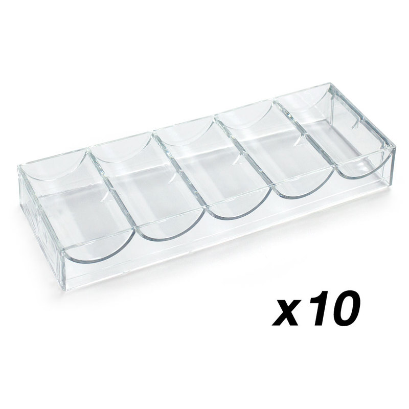 10 Acrylic Chip Trays - NO Lid