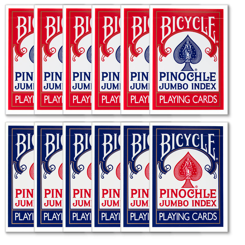 12 Decks of Bicycle Pinochle Jumbo Red & Blue