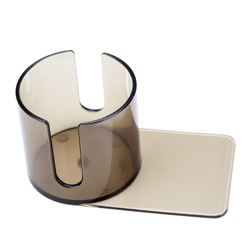 Small Plastic Smoke Colored Cup Holder With Cutout