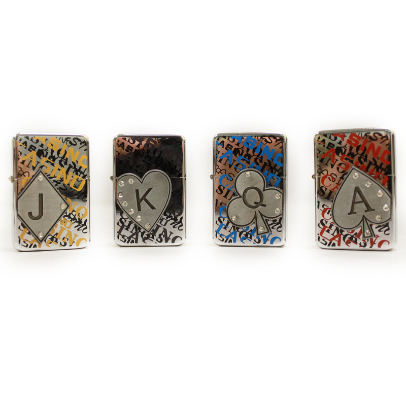 (12) Pack of Poker Themes Oil Lighter w/Retail Display