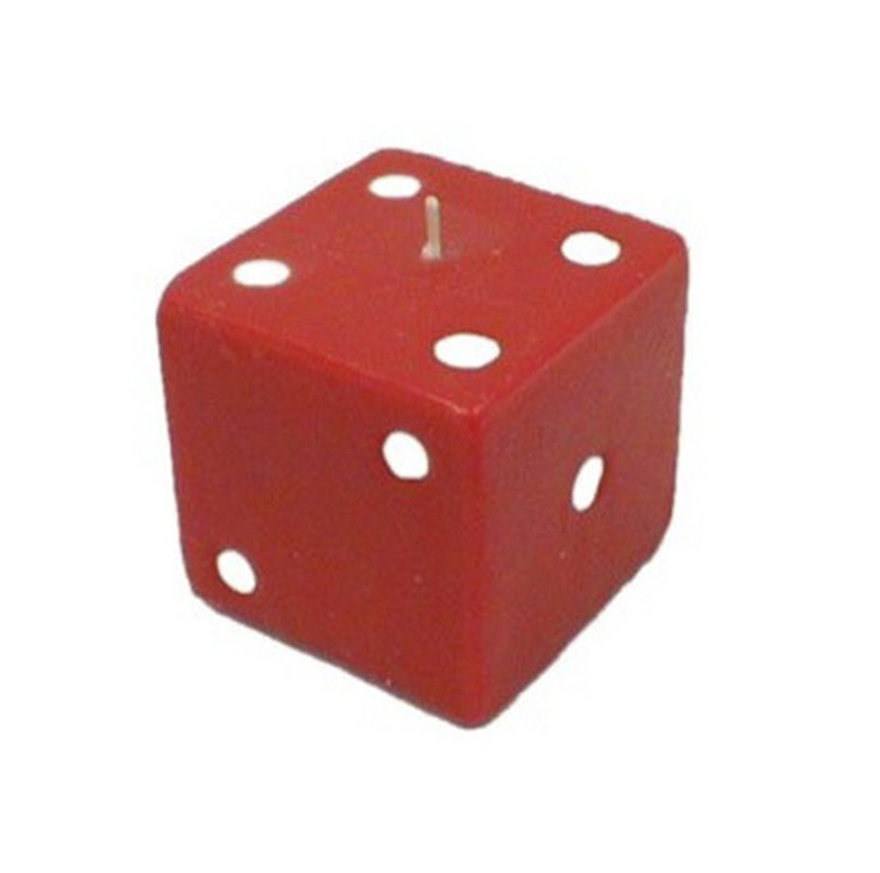 Casino Supply Red Dice Candle: 3 1/4 x 3 1/4 Inches