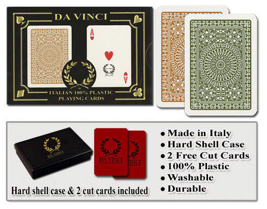 Casino Supply Da Vinci Casino Club Playing Cards: Brown/Green, Wide Regular Index