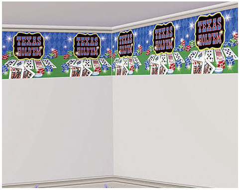 Casino Supply Texas Hold'em Border Roll: 18 Inches x 50 Feet Vinyl Wall Decor