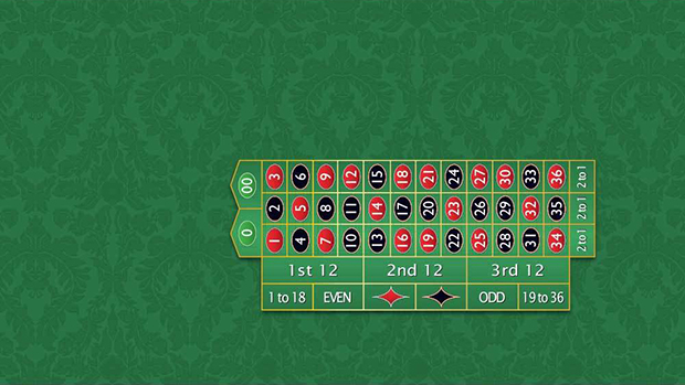 Casino Supply Roulette Layout: Left Hand, Double 00, Standard Width (51 Inch), Custom - Allow 2 Weeks Production