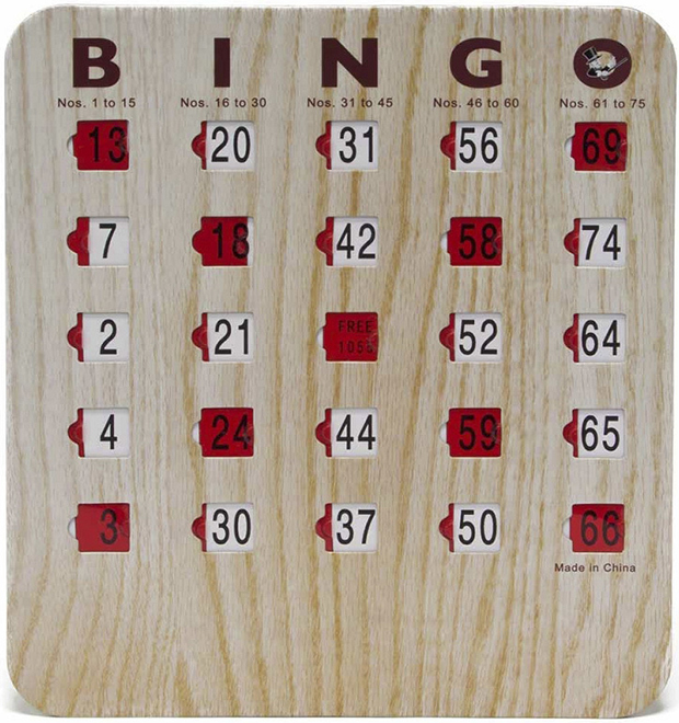 Casino Supply Bingo Shutter Slide Cards: 5 Ply Wood Grain Finish