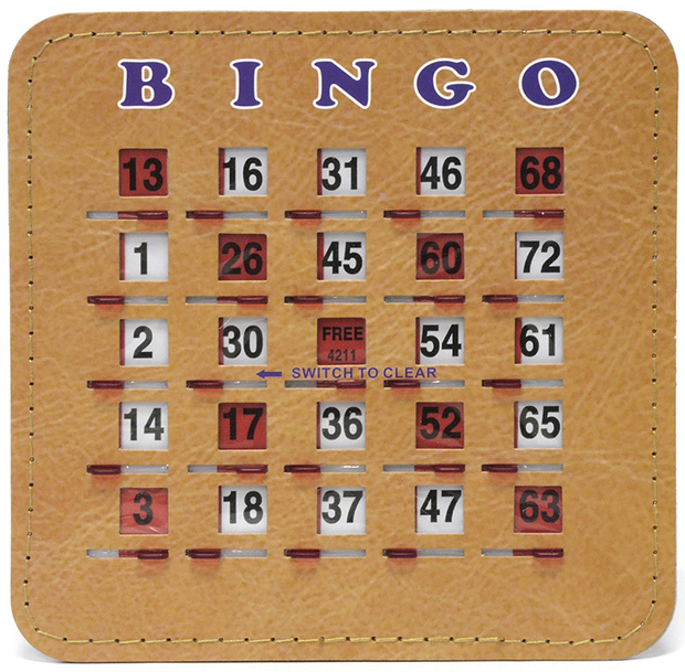 Casino Supply Senior Friendly Tabbed Quick Clear Stitched 5 Ply Bingo Shutter Slide Cards