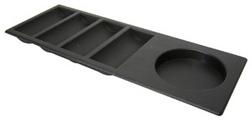 Casino Supply Black Straight Insert Poker Chip Tray with Cup Holder: 4 Row / 108 Chip