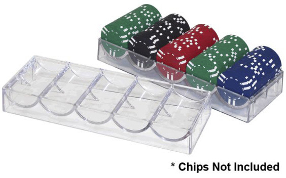 Casino Supply Clear Acrylic Poker Chip Rack: 5 Row / 100 Chip