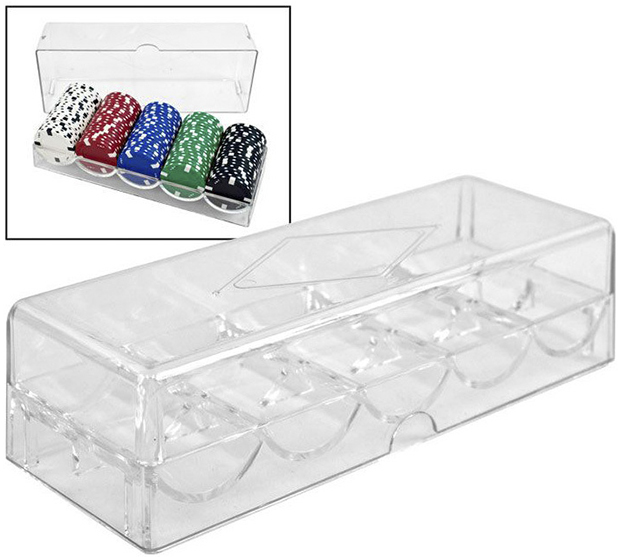 Casino Supply Clear Acrylic Poker Chip Rack and Cover: 5 Row / 100 Chip