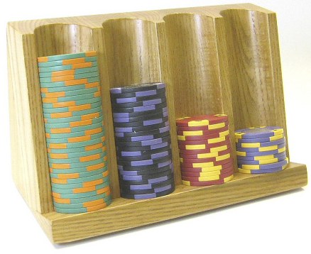 Casino Supply 4 Row Craps Chip Tray: Wood