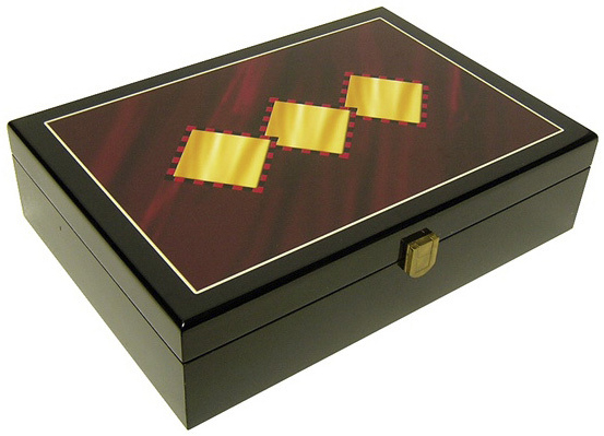 Casino Supply Hi-Gloss Wooden 3 Diamond Design 200 Poker Chip Case
