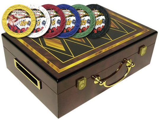 Casino Supply Hi-Gloss Design Poker Chip Case (4 Diamonds) and 500 Showgirl Poker Chips