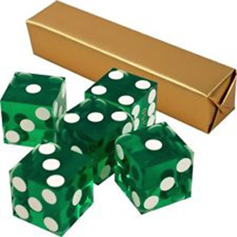 Casino Supply New Casino Dice: Green, Serialized, 3/4 Inch, Set of 5