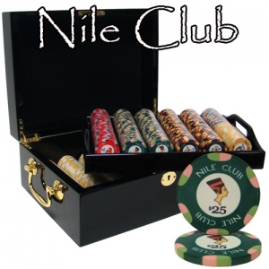 500 Ct Standard Breakout Nile Club Chip Set - Mahogany Case