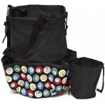 Casino Supply 10 Pocket Bingo Ball Designer Bag with Coin Purse: Black