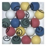 Casino Supply Bingo Balls: Colored, Single Sided, Ping Pong Size, 1.5 Inches