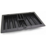 Casino Supply ABS Black Poker Chip Tray with Cardholder: 8 Row / 350 Chip
