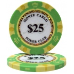 Casino Supply Monte Carlo 14g 3 Tone Holographic Poker Chips: Denomination - $25, 25 per Package