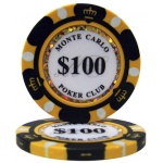 Casino Supply Monte Carlo 14g 3 Tone Holographic Poker Chips: Denomination - $100, 25 per Package