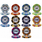 Casino Supply Monte Carlo 14g 3 Tone Holographic Poker Chips: Denomination - $500, 25 per Package
