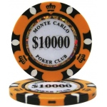 Casino Supply Monte Carlo 14g 3 Tone Holographic Poker Chips: Denomination - $10000, 25 per Package