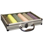 Casino Supply Aluminum 300 Chip Poker Case with Clear Top