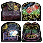 Casino Supply Neon Casino Sign Cutouts: 13 x 13 Inches, Package of 4