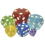 Casino Supply Acrylic Transparent Dice: Red, Sold Individually, 70 mm / 2.75 Inch