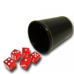 5 Red 16mm Dice with Synthetic Leather Cup