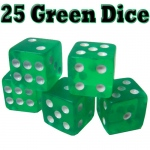 25 Green Dice - 16 mm