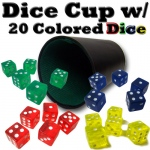 Plastic Dice Cup with 20 Colored Dice