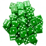 25 Green Dice - 19 mm