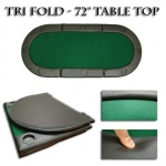 "Green 72""x32"" Tri-Fold Poker Table Top With Cup Holders!"