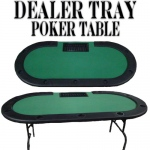 "Green Felt Poker Table W/ Cup Holders & Dealer Tray 82""x42"""