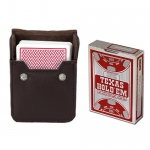 Copag Hold 'Em Red Poker Size Peek Indx Deck w/ Leather Case