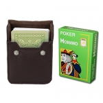 Lt Green Modiano Cristallo, Poker Size, 4 PIP w Leather Case